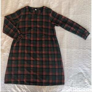 Plaid Long Sleeve Dress w Pockets & Button Cuffs
